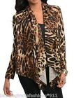 Black/Brown Leopard Animal Safari Print Scarf Drape Cover-Up Cardigan S M L XL