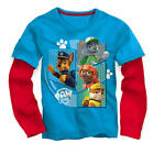 Nickelodeon Boys Blue/Red Paw Patrol Faux Layered Long Sleeve Grap - Toddler