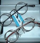1 WIRE Lennon look Round READING GLASSES select power GOLD TONE OR DARK SILVER