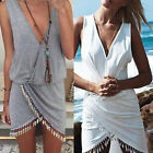 Women Summer Sexy Celeb Sleeveless Asymmetric Hem Party Tassel Short Mini Dress