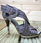Karen Millen FN055 Neutral Strappy Leather Stiletto Dress Sandals Shoes 4 - 6