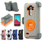 Hybrid Rugged Shockproof Heavy Duty Hard Clip Holster Stand Case Cover For LG G4