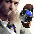 Enduring Men PU Leather Stainless Steel Military Sport Quartz Wrist Watch HFUS