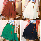 Attractive Girls Trendy Mini Skirts Chiffon Waist Pleated Short Dress+Belt HFCA