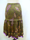 ETCETERA PAISLEY GREEN PURPLE TIERED SILK SKIRT WISTERIA sz 0 2 4 6 8 NEW $250