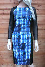 Karen Millen Graphic Print Mesh Sleeve Evening Pencil Cocktail Dress 10 - 12 New