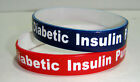 """DIBETIC INSULIN PUMP  Medical Silicone Wristband Bracelet  Red or Navy/White 8"""""""