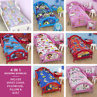 Childrens Kids 4in1 Junior Cot Toddler Duvet Quilt Bedding Bundle Set OFFICIAL
