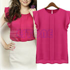 Fashion Womens Chiffon Tulip Short Sleeve Casual Shirt Loose Blouse Tops New