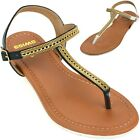 Womens Dressy Flats T-Strap Sandals Slingback Thong Flip Flops Gold Accent Shoes