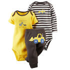 Carter's Boys 3 Piece Grey Stripe Bodysuit,Yellow Embroidered Bodysuit & Grey Pa