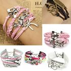 Fashion Infinity Love Jewelry Anchor Heart Leather Cute Bracelet Bronze Gift New