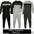 New Mens Stripe Full Sleeve Crotch Slim Fit Hooded Tracksuit Rib Pocket UK S-XL