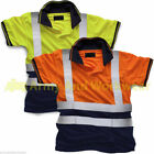 Hi Viz Mens 2 Tone Polo Collar T-shirt Pro Work Clothes Safety High Vis EN471