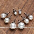 2x Sterling Silver 925 Natural Freshwater Pearl Ball Round Bead Earring Ear Stud
