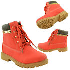 Girls Hiking Ankle Boots Lace Up Lug Sole Faux Leather Zipper Trim Red
