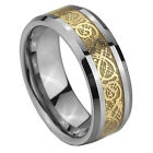 8MM Tungsten Carbide Celtic Gold Dragon Inlay Men Band Ring Size 7-13