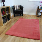 Small Large Warm Terracotta Orange Wool Rug Plain Thick Soft Living Room Rugs