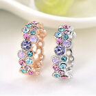 Women's Colorful Rose Rhinestones 9K Gold Plated Ring Wedding Vogue Jewelry