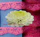 """5 Yards Lace Trim Hot Pink Scalloped 1/2"""" Floral E10V Added Items Ship No Charge"""