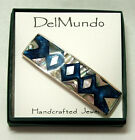 "Hair Barrette Geometric design Mother of Pearl Inlays 5 color choices 3.25"" SQGE"