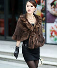 Genuine Knitted Mink Fur Shawl Cape Stole Wrap Poncho Scarf Neck Warmer A526