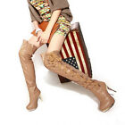 Ladies Womens Pleated Leather High Heeled Strappy Thigh Boots Shoes UK Plus Size