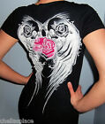 New Sexy METAL MULISHA Maidens Black Pink ANGEL WING SKULL Top T-Shirt  S or M
