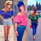 2015 Summer New Lady Sexy Off Shoulder Boat Neck Blouse Ruffled Collar T-Shirt