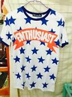 Fashion Men Youth Full of Blue Star Pattern Short Sleeve Casual T-shirt