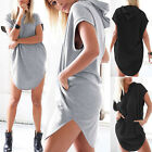 Fashion Women's Loose Hoodie T Shirt Tops Short Sleeve Mini Dress Casual Blouse