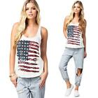 Womens Lady Flag Print Vest Sleeveless T-Shirt Tank Top Blouse Camisole S M L XL