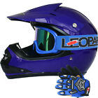 LEOPARD Youth Junior Kids Motorbike Motocross MX Helmet Blue +Goggles+Gloves Set