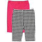 Luvable Friends Girls 2 Pack Leggings with Solid Pink & Black/White Houndstooth