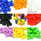 Lot of 100 Plastic Acrylic 9mm x 6mm Opaque Pony Crow Beads with Large 4mm Hole