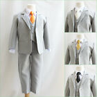 Boy Silver/light grey black gold white ivory long tie wedding party formal suit