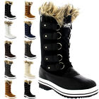 Womens Fur Cuff Lace Up Rubber Sole Tall Winter Snow Rain Shoe Boots UK 3-10