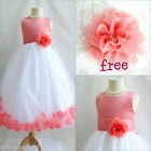 Charming Coral/White rose petals flower girl dress FREE HAIR BOW all sizes