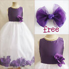Charming Purple Eggplant rose petals flower girl dress FREE HAIR BOW all sizes