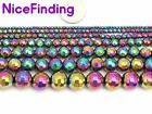 Rainbow Faceted Hematite Beads For Jewelry Making Round Gemstone Beads In Bulk