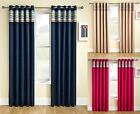 THERMAL BLOCKOUT EYELET CURTAINS RING TOP NATURAL BLUE PINK