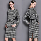 Vintage Womens Grid Bodycon Slim OFFICE LADY Evening Party Pencil MIDI Dress