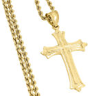 10K Yellow Gold Diamond Cut Flat Cross Charm Pendant + 2mm Hollow Rope Chain 22""