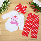 Baby's Soft Cartoon Animal Newborn Clothes Romper Hat Pants 1set/3pcs Clothing