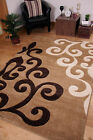 LARGE FLOWER MOTIF DARK BEIGE BROWN CREAM SMALL FLOOR AREA RUGS TORONTO 2 SIZES