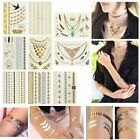 New Metallic Temporary Flash Tattoo Body Makeup Sticker Gold Silver 11 Styles