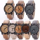 Vintage Men Women Wood Grain Faux Leather Retro Quartz Dress Analog Wrist Watch