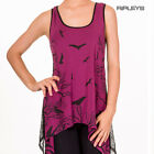 BANNED Goth Long Vest Top CROWS Purple Lace ~ Hells Bells All Sizes