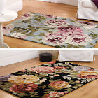 Elegance Grace Faith Flair Rugs Vintage Floral Rose Luxury Wool Cotton Mix Rug