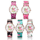 New Classic Women Lady Floral Large Dial Flower Leather Quartz Wrist Watch Party